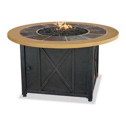 Uniflame - Uniflame GAD1362SP Lp Gas Outdoor Firebowl with Slate And Faux Wood Mantel - Uniflame GAD1362SP Lp Gas Outdoor Firebowl with Slate And Faux Wood Mantel
