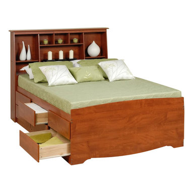 Prepac - Prepac Monterey Queen Tall Bookcase High-Platform Storage Bed in Cherry - Prepac - Beds - CBQ6212KIT - Who says a queen-sized bed has to take up a lot of room? With the Tall Queen Captains Platform Storage Bed with 12 Drawers you'll gain storage space in your bedroom not lose. The six full-sized drawers on each side of the bed (twelve in total) are great for stowing away clothing linens and other bedroom items. Don't worry about needing a box spring: the slat support system requires only a mattress. This sturdy captains bed will relieve the storage duties of any dresser or chest and fit right in with your decor. Add a finishing touch and storage space to your bedroom with the Full/Queen Tall Slant-Back Bookcase Headboard. Boasting a unique design that will complement your existing decor this headboard offers maximum storage space while taking up minimum floor space. Fill the eight storage compartments with bedside books knick-knacks and whatever else you can fit in their various sizes. This free-standing product is designed to be paired with any full or queen bed including our Mates Platform Storage Beds and our Tall Captains Platform Storage Beds.