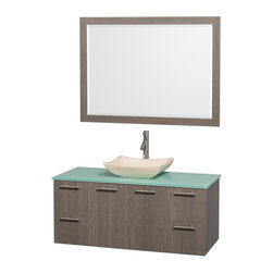 Wyndham Collection - 48 in. Contemporary Wall Mounted Vanity with Mirror - Includes drain assemblies and P-traps for easy assembly. Faucet not included. Modern clean lines. Eight stage preparation. Veneering and finishing process. Highly water resistant low V.O.C. sealed finish. Unique and striking contemporary design. Deep doweled drawers. Fully extending soft close drawer slides. Soft close door hinges. Single hole faucet mount. Two functional doors. Four functional drawers. Plenty of storage space. Green glass top. Ivory marble sink. Engineered for durability and to prevent warping and last for lifetime. 0.75 in. thickness mirror. Made from highest quality grade E1 MDF. Metal exterior hardware with brushed chrome finish. Grey finish. Minimal assembly required. Mirror: 46 in. W x 33 in. H. Vanity: 48 in. W x 21.75 in. D x 20.25 in. H. Care Instructions. Assembly Instructions - Sink. Assembly Instructions - MirrorTruly elegant design aesthetic meet affordability in the Wyndham Collection Amare Vanity. The attention to detail on this elegant contemporary vanity is unrivalled.