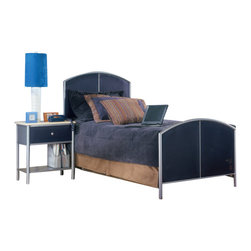 Hillsdale Furniture - Hillsdale Universal 2-Piece Mesh Bedroom Set - The silver and navy Universal Youth bedroom offers super solutions for any kids room, whether you choose the traditional bed, the bookcase headboard with under bed storage, the loft bed or bunk beds. Add any combination of case goods to create the perfect home base for your child, tween or teen.