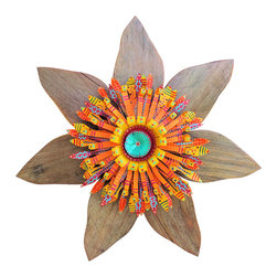 Souvenir Farm, Ltd. - Rustic Boho Flower Wreath-Southwest Wall Art -Reclaimed Wood & Metal - With fiery colors and textures, this rustic Boho-chic barn wood flower wreath deserves to be hung front and center - from farmhouse porch to cabin garden.
