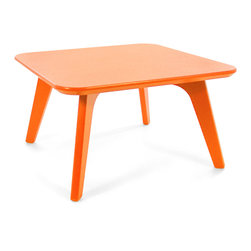 Loll Designs - Satellite End Square 26 Table, Sunset Orange - In the context of outdoor lounging, a Loll Satellite accent table is a recycled polyethylene object placed into orbit around humans resting in Loll Furniture. Unlike the moon, the Loll Satellite Table actually rotates in conjunction with the Earth and her inhabitants, at just over 1,000 miles per hour, but appears to be sitting still. We think it's time for you to have your very own Satellite... perfect for star gazing on black nights with warm breezes and cold drinks. All Loll Satellite Tables are made with heavy duty 1 inch thick poly and available in an assortment of colors, shapes and sizes.