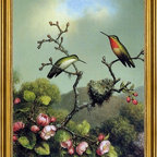 """Martin Johnson Heade-18""""x24"""" Framed Canvas - 18"""" x 24"""" Martin Johnson Heade Ruby Throat of North America framed premium canvas print reproduced to meet museum quality standards. Our museum quality canvas prints are produced using high-precision print technology for a more accurate reproduction printed on high quality canvas with fade-resistant, archival inks. Our progressive business model allows us to offer works of art to you at the best wholesale pricing, significantly less than art gallery prices, affordable to all. This artwork is hand stretched onto wooden stretcher bars, then mounted into our 3"""" wide gold finish frame with black panel by one of our expert framers. Our framed canvas print comes with hardware, ready to hang on your wall.  We present a comprehensive collection of exceptional canvas art reproductions by Martin Johnson Heade."""