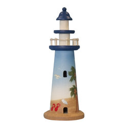 "Handcrafted Model Ships - Wooden Palm Beach Lighthouse 12"" Lighthouse Decorating Wooden Lighthouse - New - Handcrafted from solid wood, this charming Wooden Palm Beach Lighthouse 12"" brings your room alive with the ambiance of the beach. Depicting a sunny day at the beach, complete with flip flops and swaying palm trees, place this adorable lighthouse anywhere in your home for a wonderful nautical accent."