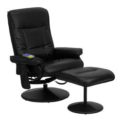 Flash Furniture - Massaging Black Leather Recliner and Ottoman with Leather Wrapped Base - Enjoy a relaxing massage in the comfort of your own home or office with this recliner and ottoman set. This set offers maximum massaging power that kneads your back, lumbar area and thighs. With three intensity levels and five massage modes you are sure to get the comfort that you're looking for. Look no further for your perfect massage chair offered at an incredible price!