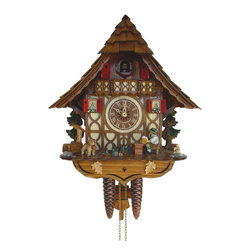 Schneider Cuckoo Clocks - 1-Day 11 in. Black Forest House Cuckoo Clock in Antique Finish - Chalet style. Original individual hand laid wooden shingles. 1-day rack strike movement. Wooden cuckoo calls and strikes every half and full hour. Wooden cuckoo, dial with roman numerals and hands. Moving beer drinker lifts, dog and beer glass at every full and half hour. Shut-off lever on left side of case silences strike, call and music. Made from wood. Made in Germany. 11 in. W x 6.5 in. D x 12.6 in. H (6.6 lbs.). Care Instructions