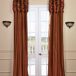 Ruched Cayenne Thai Silk Curtain - We've taken our popular Thai Silk panels and added a ruched header valance creating the most luxurious, over the top style in window treatments out there. This style was designed and meant to be stationary and used as decorative panels to frame out your window.
