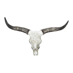 Society Style - Long Horn Cow Wall Decal - Let your inner cowboy reign with this long horned cow skull wall decal. It's easy to apply and nothing had to die for you to live out your childhood dreams. (This is an adhesive wall decal and not a real animal mount)