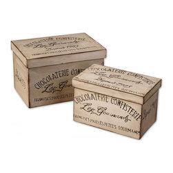 www.essentialsinside.com: chocolaterie, decorative boxes, fir wood, set of 2 - Chocolaterie, Boxes, Set Of 2 by Uttermost, available at www.essentialsinside.com