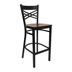 Flash Furniture - Black ''x'' Back Metal Restaurant Bar Stool with Mahogany Wood Seat - This heavy duty commercial metal bar stool is ideal for Restaurants, Hotels, Bars, Pool Halls, Lounges, and in the Home. The lightweight design of the stool makes it easy to move around. The tubular foot rest not only supports your feet, but acts as an additional reinforcement that helps secure the legs. You will not regret the purchase of this bar stool that is sure to complement any environment to fill the void in your decor.