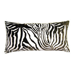 Square Feathers - Sheldon Pillow, Zebra Pillow - A little swath of zebra print could be just the wild touch a room needs to bring it to life. Can you imagine this one livening up an otherwise-staid study? Every room deserves a little fun, and this pillow will easily provide it.