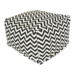 Majestic Home - Outdoor Black Chevron Large Ottoman - Add a little character to your living room or patio with the Majestic Home Goods Large Ottoman. This Ottoman is the perfect accessory to add comfort and style to any room while functioning as a decorative foot stool, pouf, or coffee table. Woven from outdoor treated polyester, these ottomans have up to 1000 hours of U.V. protection and are able to withstand all of natures elements. The beanbag inserts are eco-friendly by using up to 50% recycled polystyrene beads, and the removable zippered slipcovers are conveniently machine-washable.
