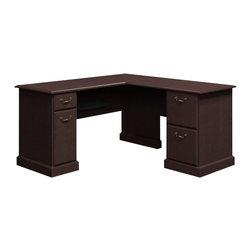 "BBF - Bush Syndicate 60""W x 60""D L-Desk in Mocha Cherry Finish - Bush - Home Office Desks - 6330MC03K"