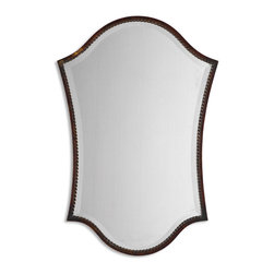"Abra Metal Frame Beveled Vanity Mirror - *This shapely, beveled mirror features a narrow frame finished in lightly distressed bronze with burnished details. Mirror has a generous 1 1/4"" bevel."