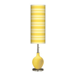 Contemporary Lemon Zest Bold Stripe Ovo Floor Lamp