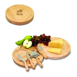 """Picnic Time - Buffalo Bills Circo Cheese Board in Natural Wood - The Circo by Picnic Time is so compact and convenient, you'll wonder how you ever got by without it! This 10.2"""" (diameter) x 1.6"""" circular chopping board is made of eco-friendly rubberwood, a hardwood known for its rich grain and durability. The board swivels open to reveal four stainless steel cheese tools with rubberwood handles. The tools include: 1 cheese cleaver (for crumbly cheeses), 1 cheese plane (for semi-hard to hard cheese slices), 1 fork-tipped cheese knife, and 1 hard cheese knife/spreader. The board has over 82 square inches of cutting surface and features recessed moat along the board's edge to catch cheese brine or juice from cut fruit. The Circo makes a thoughtful gift for any cheese connoisseur!; Decoration: Engraved; Includes: 1 cheese cleaver (for crumbly cheeses), 1 cheese plane (for semi-hard to hard cheese slices), 1 fork-tipped cheese knife, and 1 hard cheese knife/spreader"""
