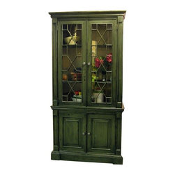 British Traditions - Single-Section Bookcase w Glass Fretwork Doors (French Grey) - Finish: French Grey. Each finish is hand painted and actual finish color may differ from those show for this product. Single-section bookcase with glass fretwork doors. Top interior cabinet: 32 in. W x 11.5 in. D x 46.5 in. H. 36 in. W behind face frames. Base does not come with shelves. 40.5 in. W x 16 in. D x 82.5 in. H (188 lbs.)A Handsome Cabinet that can used as a Hutch, a Bookcase or just for Display. The Fretwork doors are an eye catching detail that make this a feature piece of furniture.