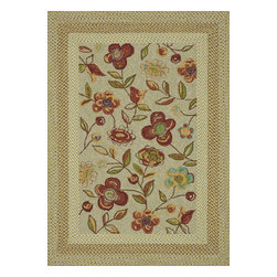 "Loloi Rugs - Loloi Rugs Zamora Collection - Sage, 5'-0"" x 7'-6"" - The Zamora Collection, made in China of 100% polypropylene, combines a hand-hooked field with a hand-braided border, for an overall look that exceeds expectations in an indoor/outdoor product. Cheerful and vibrantly colored, this collection breathesliveliness into an outdoor space."