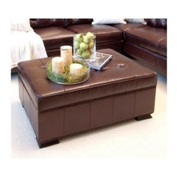 Elements Home Furnishing - Chateau Top Grain Leather Storage Ottoman in - Shown in Mahogany. Top Grain Leather. Hardwood frame encased in  high density foam. Dark wood feet. Dimensions: 44 in. D x 29 in. W x 17.5 in. H ( 70.4 lbs. )Château majestic storage ottoman with beautifully tufted cushion.
