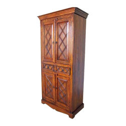 Rustic Wood 2 Storage Drawers Cupboard Wardrobe Armoire - Gorgeous Handmade Solid Indian Rosewood Wardrobe Armoire Cabinet with hand carving on doors and drawers.