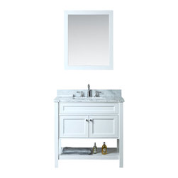 "Ariel - Mayfield 36"" Single-Sink Bathroom Vanity Set - Inspired by traditional Hampton-style beach cottages, this vanity from our Mayfield collection combines an all-white finish with carrera marble countertop and decorative crystal knob hardware for a crisp, clean feel that goes well with any bathroom design."