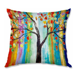 DiaNoche Designs - Pillow Woven Poplin - Lam Fuk Tim Color Tree - Toss this decorative pillow on any bed, sofa or chair, and add personality to your chic and stylish decor. Lay your head against your new art and relax! Made of woven Poly-Poplin.  Includes a cushy supportive pillow insert, zipped inside. Dye Sublimation printing adheres the ink to the material for long life and durability. Double Sided Print, Machine Washable, Product may vary slightly from image.