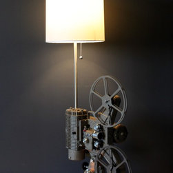 Custom lighting fixtures - Vintage Hollywood 8MM Movie Projector - Keystone Regal K-109  -converted into a unique table lamp.