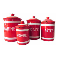 Red Enamel Canister Set - Set of four french enamel red canisters. They are marked farine, poirve,Café and pates.