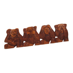 Zeckos - Carved Mahogany No Evil Monkeys Wall Hanging See Hear Speak Do - Made in Indonesia, this funny No Evil monkey wall hanging features 4 monkeys in the classic 'see no evil, hear no evil, speak no evil, and do no evil' pose is hand-carved from Indonesian mahogany. Measuring 20 inches long, 6 inches wide and 3/4 of an inch deep, it looks great on walls in patios, outdoor tiki bars or any other jungle themed room. This wall hanging makes a great gift for friends and family.