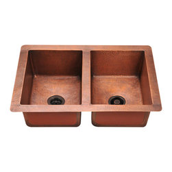 "MR Direct - MR Direct 902 Double Equal Bowl Copper Sink - The 902 equal double bowl undermount sink is made from 99% pure-mined copper. It is comprised using one piece construction, giving you a very strong and durable copper sink. Since copper is stain resistant, it is great for busy households that benefit from low-maintenance materials. The hammered finish looks great and provides a mask for small scratches that may appear over time. The overall dimensions of the 902 are 33"" x 22"" x 10"" and a 33"" minimum cabinet size is required. The sink contains a centered 3 1/2"" drain opening and copper strainers and flanges are available. The hand-crafted copper details are sure to add warmth and richness to any decor. Strainers not included."