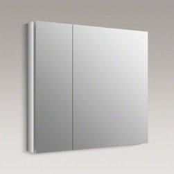 "KOHLER - KOHLER Verdera(TM) 34"" W x 30"" H aluminum medicine cabinet - The Verdera medicine cabinet combines an elegant fit and finish with quick, easy installation. The double doors and interior are fully mirrored, and three adjustable glass shelves offer flexible storage of toiletries."