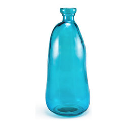 Bambeco Chelsea Vase Aqua Large - Our Chelsea vases are artisan designed and hand blown with natural organic shapes.  These vases have thick walls and a smooth, rounded rim.  Made from 100% recycled glass, the Chelsea vases are the perfect accent piece for any room. Dishwasher safe.  Available colors: Clear, Red, Aqua and Chocolate.Dimensions: Large 8dia.x20H., opening on all sizes is 2dia.