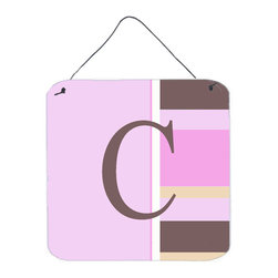 Caroline's Treasures - Letter C Initial Monogram - Pink Stripes Aluminium Metal Wall Or Door Print - Great for inside or outside these Aluminum prints will add a special touch to your kitchen, bath, front door, outdoor patio or any special place.  6 inches by 6 inches and full of color.  This item will take direct sun for a while before it starts to fade.  Rust and Fade resistant.  Aluminum Print with Hanging Rope.  Rounded Corners.