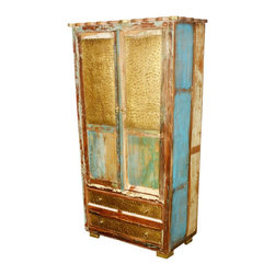 "Sierra Living Concepts - Golden Coins Reclaimed Wood 72"" Armoire Cabinet - You can feel like a millionaire but still keep it rustic with our Golden Coins 72"" Armoire. This traditional free standing closet style storage system is built with eco-friendly reclaimed wood from Gujarat. The old wood is naturally seasoned over time, so it's authentically distressed. The drawers and top sections of the doors have a golden coin style textured front."