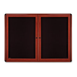Ghent - Ghent Ovation Enclosed Tack Board - 34 Height x 47 Width - Black Fabric Surface - Display your images and notices in style with the Ovation Enclosed Fabric Tack board with two doors. The design will complement any decor with powder-coated aluminum framing in a rich wood-look finish that brings fine furniture to mind. The radius corners feature a distinctive accent trim in black finish, and the frame comes in either Medium Cherry finish. The two doors offer full-length hinges and keys for added security. Door panels have flush mount locks and are made of shatter-resistant acrylic. Durable fabric tack board is manufactured to provide years of reliable service. The decorative black fabric tack surface is fade-resistant and will hold up under even the most demanding use.