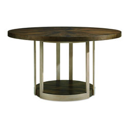 Schnadig - Caracole Gather Round Dining Table, Dark Fumed Oak - Nestle this round table in any deserving niche. A round table fits neatly in small spaces and this table's simple lines and bold mix of Artisan materials makes any dining room sing. Sculptural matte gold pedestal base with fumed oak top. Wood grain radiates outward from the table's center in a brilliant starburst motion. Available in dark or light oak finish.