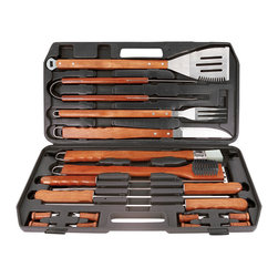 Mr Bar B Q - 18-Piece Stainless Steel Tool Set - Mr, Bar-B-Q 18-piece Gourmet Stainless Steel Tool Set with wood handles includes a 4-in-1 spatula, tongs, fork, knife, basting brush, grill brush, 4 skewers, 8 corn holders and plastic case.  Extra long hard wood handles.  Durable plastic case for carrying and storing tools.