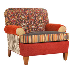 Salmagundi Collection - Clayton Chair - A woven Kilim motif in rich brick, slate, mustard and ecru on an American made upcycled, frame. One-of-a-kind