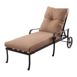 Darlee - Darlee Santa Anita Chaise Lounge Chair - 301120-33/303 - Shop for Chaise Lounges from Hayneedle.com! Let your inner sun god shine with the Darlee Santa Anita Chaise Lounge Chair. This chaise lounge offers versatility comfort and style. Perfect poolside or on the patio it features a multi-position recline feature scrolled detailing and large back wheels for easy mobility. It's crafted to last with premium cast aluminum in a powder-coated antique bronze finish. The gloriously neutral sesame fabric cushions include ties to keep them in place. About DarleeSince 1993 Darlee has developed a wide variety of products to help you create your ideal outdoor-living environment. Working with high-quality materials Darlee achieves a large spectrum of styles that covers a range of interests as well as aesthetic tastes. From classic to contemporary from conversation sets to dining sets to fire pits Darlee has you covered for outdoor entertaining. Because the company knows good business is built on trust and integrity Darlee focuses on reliable quality construction and remains committed to providing customers with the best service possible.