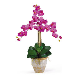 Nearly Natural - Nearly Natural Triple Stem Phalaenopsis Silk Orchid Arrangement in Orchid - Looking for the perfect orchid with absolutely no maintenance? The triple stem phalaenopsis is a classic orchid to be enjoyed by all, even the most discriminating customer. Each silk plant comes with three beautiful phalaenopsis stems each with 6 flowers and 2 buds. Finished with a gorgeous glazed ceramic vase designed to coordinate with any decor, this beauty will bring colorprovement/Bathroom Fixtures/Parts & Components/Bidet ComponentsRHome Impr