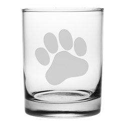 Susquehanna Glass - Paw Print Rocks Glass, 14oz, S/4 - Each 14 ounce tumbler is sand etched with a paw print design. Dishwasher safe. Sold as a set of four. Made and decorated in the USA.
