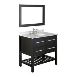 "Bosconi - 36"" Bosconi SB-250-3 Vanity Set - Crafted from solid birch wood and given a glossy black finish, this single-sink vanity features white Carrara marble and silver-tone hardware. The soft-closing storage drawers and lower, slated rack provide ample storage space. The coordinating mirror also sports a black finish, completing the sleek look of this set."