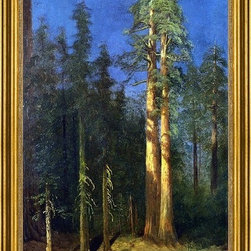 """Albert Bierstadt-16""""x24"""" Framed Canvas - 16"""" x 24"""" Albert Bierstadt California Redwoods framed premium canvas print reproduced to meet museum quality standards. Our museum quality canvas prints are produced using high-precision print technology for a more accurate reproduction printed on high quality canvas with fade-resistant, archival inks. Our progressive business model allows us to offer works of art to you at the best wholesale pricing, significantly less than art gallery prices, affordable to all. This artwork is hand stretched onto wooden stretcher bars, then mounted into our 3"""" wide gold finish frame with black panel by one of our expert framers. Our framed canvas print comes with hardware, ready to hang on your wall.  We present a comprehensive collection of exceptional canvas art reproductions by Albert Bierstadt."""