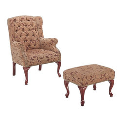Coaster - Coaster Queen Anne Button Tufted Wing Accent Chair with Ottoman - Coaster - Club Chairs with Ottomans - 3932B - Create a sophisticated traditional style in your living room or family room with this elegant chair and ottoman combo. The high button tufted wing back classic rolled arms with nail head trim and high cappuccino finished cabriole legs create the ultimate traditional look. The matching rectangular ottoman offers a cozy spot to rest your feet perfect for sitting back and relaxing while reading a book or watching TV. Covered in warm tan microfiber or neutral leafy fabric this chair and ottoman are sure to complement your home decor. This remarkable accent collection is sure to have the stylish seating you've been searching for. An assortment of upholstered chairs chaises exposed wood arm chairs and chair and ottoman sets have been gathered to create an accent collection designed to bring enhanced style functionality and livability to nearly every room of your home. Seating is presented in nearly every shape and size from luxurious chaises that invite you to linger to classic Louis style arm chairs that speak to your traditional side. An array of upholstery options lends a custom look to any space and makes finding a seating selection that suits your style a surprisingly simple task. Classic shapes contemporary finishes and even a few retro styles can all be found in this versatile collection.