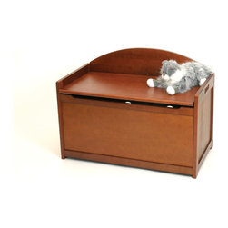 Lipper - Wooden Toy Chest - Cherry - Color: Cherry. Air Vents. Safety Lid. Material: Wood/MDF. 37.25 in. L x 24.75 in. W x 4.25 in. H (1.59 lbs)