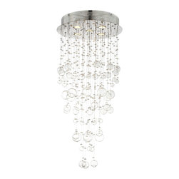 "Possini Euro Design - Chrome and Glass Spheres 39 1/4"" High Halogen Ceiling Light - This beautiful light fixture features a chrome finish and multiple strands of clear glass spheres. The varying sizes of the spheres provide an effervescent effect that is sure to liven up your decor. Perfect for the contemporary or modern living space. From the Possini Euro Design collection. Chrome finish. Flush mount ceiling light. Clear glass spheres. Includes five 35 watt halogen bulbs. 17 1/2"" wide. 39 1/4"" high. Hang weight is 8 lbs.  Chrome finish.   Clear glass spheres.   From the Possini Euro Design halogen light collection.   Designer style large chandelier.  Includes five 35 watt halogen bulbs.   17 1/2"" wide.   39 1/4"" high.   Hang weight is 8 lbs."