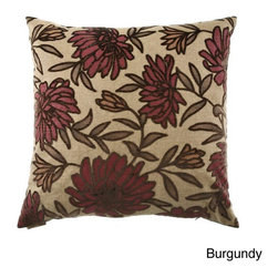 None - Montague Down Filled Decorative Throw Pillow - This lovely decorative throw pillow is covered in either a bold burgundy floral design or a soothing aqua floral design.