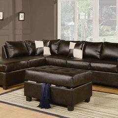 contemporary sectional sofas Sacramento Espresso Leather Sectional