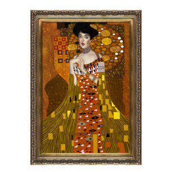 "overstockArt.com - Klimt - Portrait of Adele Bloch-Bauer 1, 1907 - 24"" X 36"" Oil Painting On Canvas The original oil painting was purchased for $135 million. The highest priced painting in history! Hand painted oil reproduction of a famous Klimt painting, Portrait of Adele Bloch-Bauer 1. The original masterpiece was created in 1907. Today it has been carefully recreated detail-by-detail, color-by-color to near perfection. Gustav Klimt (1862-1918) was one of the most innovative and controversial artists of the early twentieth century. Influenced by European avant-garde movements represented in the annual Secession exhibitions, Klimt's mature style combines richly decorative surface patterning with complex symbolism and allegory, often with overtly erotic content. This work of art has the same emotions and beauty as the original. Why not grace your home with this reproduced masterpiece? It is sure to bring many admirers!"