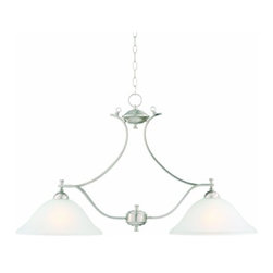 DHI-Corp - Ironwood 2-Light Energy Star Island Pendant, Satin Nickel - The Design House 515569 Ironwood 2-Light Energy Star Pendant is made of formed steel, snow glass and has a satin nickel finish. This pendant's versatile design is applicable for high or low ceilings. As a laid-back alternative to a chandelier, this fixture maintains a sophisticated appeal while delivering indirect light with a pleasing aesthetic. Energy Star qualified, this 2-light pendant is rated for 120-volts and uses (2) 13-watt GU24 compact fluorescent lamp. Measuring 21.5-inches (H) by 36.5-inches (W), this 7.85-pound fixture comes with a 48-inch chain to extend from high ceilings. Curved steel accentuates the soft glass to create an elegant centerpiece over a kitchen island, bar or dining room table. Energy Star products meet strict energy efficiency guidelines set by the U.S. Environmental Protection Agency and the U.S. Department of Energy to maintain a greener home. This product is UL, CUL listed and UL approved for damp areas. The Ironwood collection features a beautiful matching wall mount, ceiling mount, chandelier and vanity. The Design House 515569 Ironwood 2-Light Energy Star Pendant comes with a 2-year limited warranty that protects against defects in materials and workmanship. Design House offers products in multiple home decor categories including lighting, ceiling fans, hardware and plumbing products. With years of hands-on experience, Design House understands every aspect of the home decor industry, and devotes itself to providing quality products across the home decor spectrum. Providing value to their customers, Design House uses industry leading merchandising solutions and innovative programs. Design House is committed to providing high quality products for your home improvement projects.